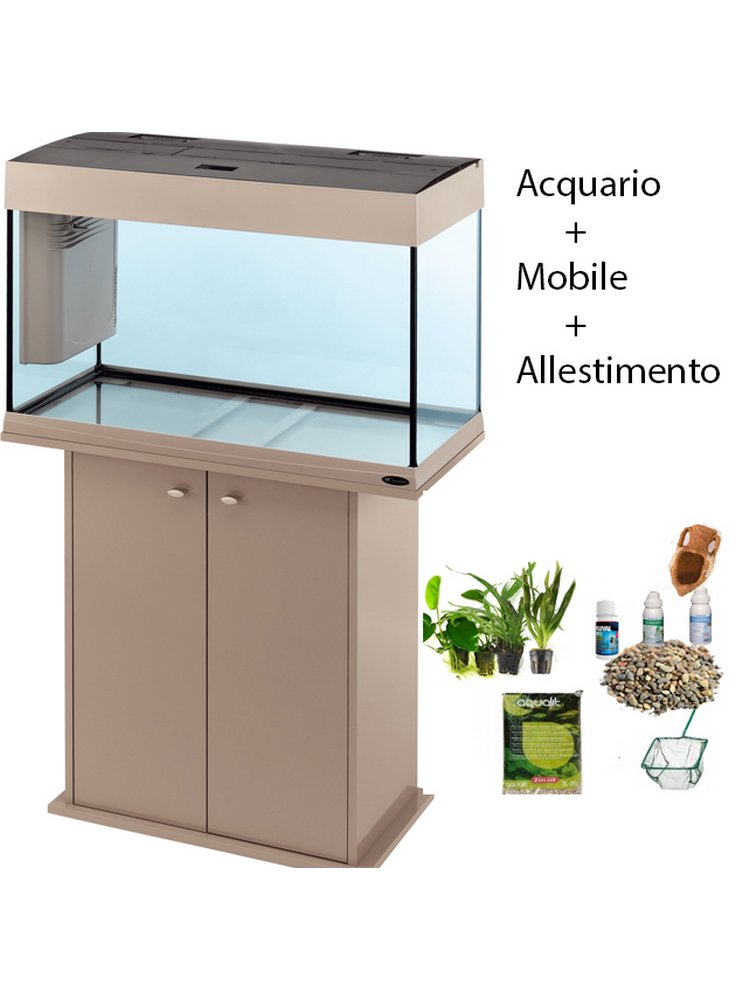 Acquario Dubai 100 led tecno gray + mobile originale + allestimento