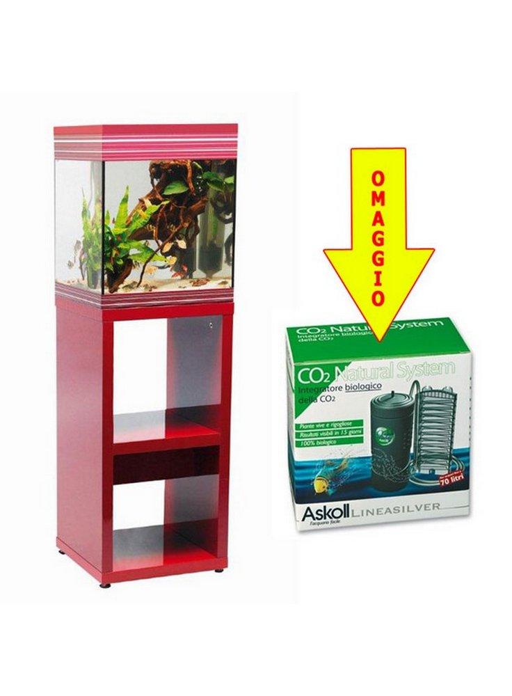 Acquario askoll pure m burgundy rosso 44 lt supporto for Acquario 300 litri prezzo