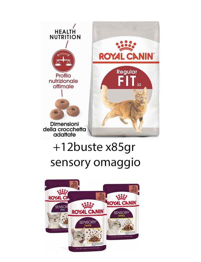 Fit gatto Royal Canin 10 Kg + 12x85gr buste sensory omaggio