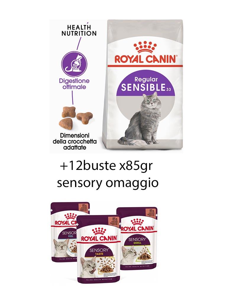 Sensible gatto Royal Canin 10 Kg + 12x85gr sensory omaggio