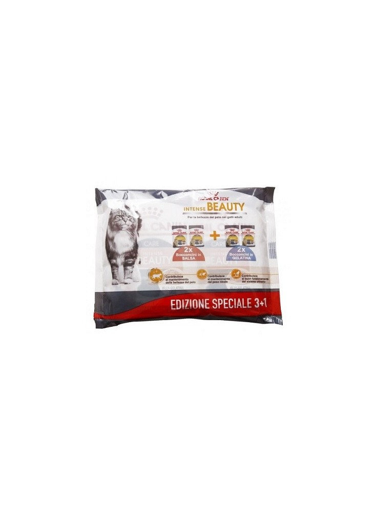 Royal Canin Gatti Adulti Intense Beauty Multipack 3+1 Buste da 85 gr