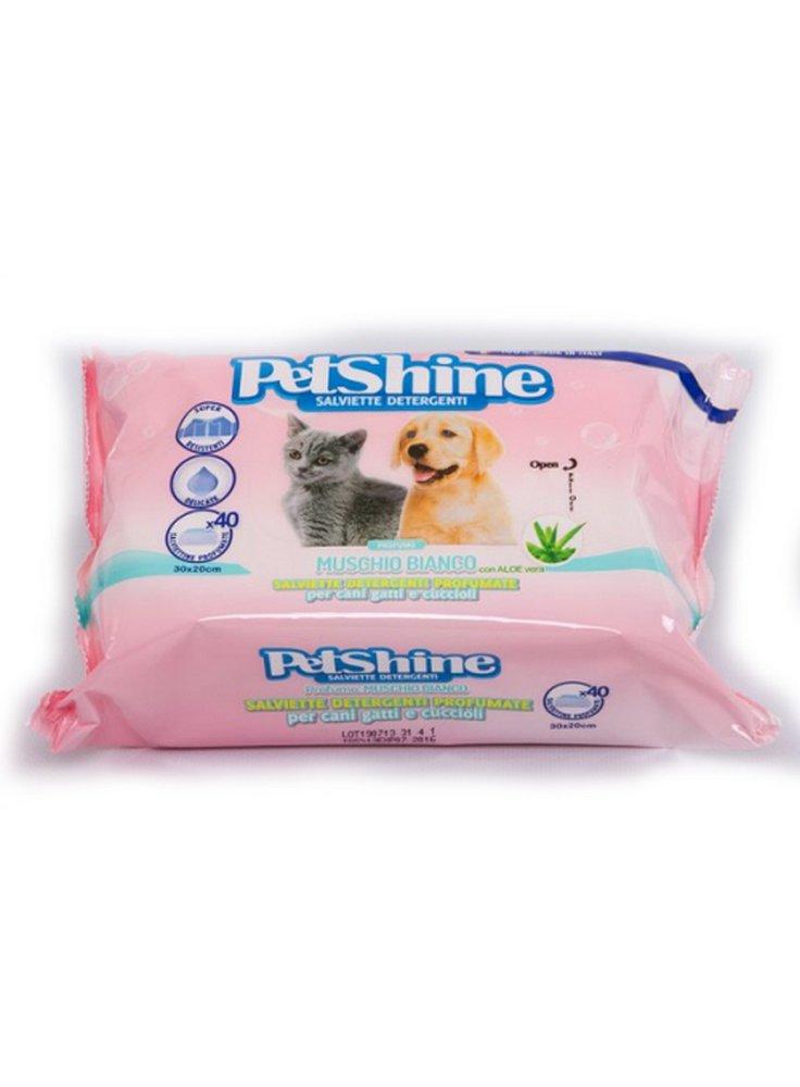 Salviette detergenti cani e gatti petshine muschio bianco [40pz.]