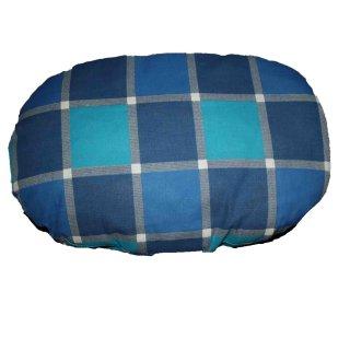 "cuscino ovale ""Molly"" fantasia quadratoni blu e azzuri cm 40x25cm"