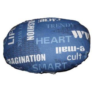 """cuscino ovale """"Molly"""" fantasia blu con scritte cm 40x25cm"""