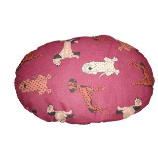 """cuscino ovale """"Molly"""" fantasia rossa con cani cm 40x25cm"""