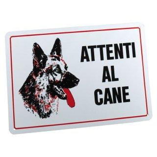 Targa Attenti al cane in PVC bianca