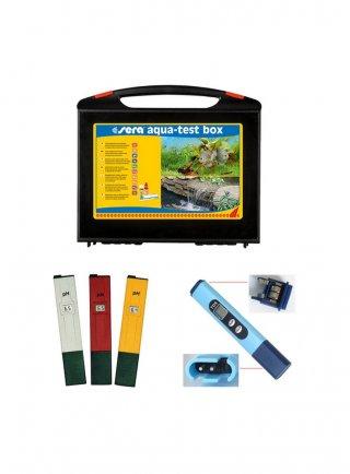 Sera valigetta test aquatest box acquario dolce + 1 phmetro + 1 termometro