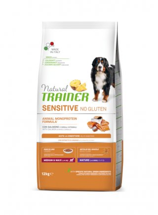 Trainer Sensitive NoGluten Mature Medium&Maxi Salmone e cereali 12Kg