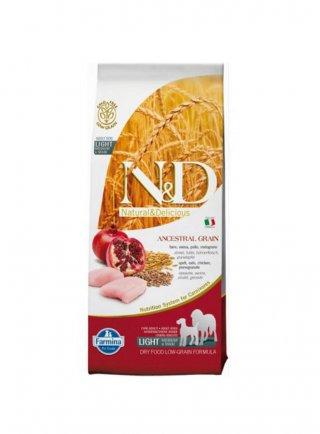 n&d Farmina Crocchette dog adult Ancestral light medium e maxi pollo e melograno 12kg