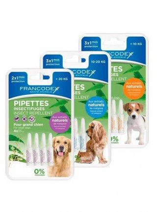 Antiparassitario 4 fiale effetto repellente naturale Francodex per cani da 10 a 20 kg