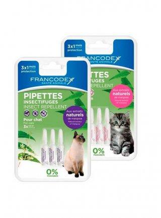 Antiparassitario effetto repellente Francodex per gatti 3x0,6ml gatti adulti e cuccioli