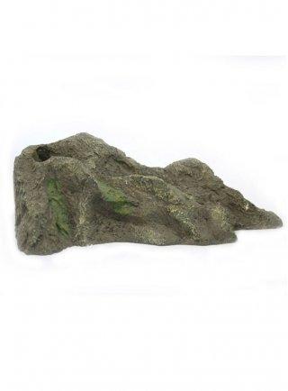 Decorazione roccia in resina ad angolo per terrari con foro per gioco d'acqua 23x10,5xH7,5 cm (D3)