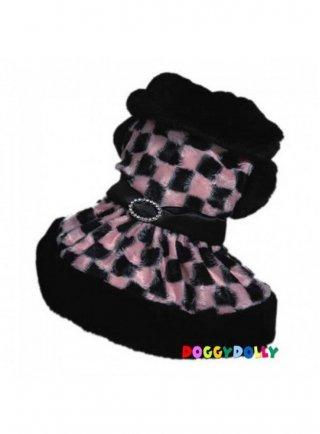 Cappottino doggy dolly scacchi rosa DF029