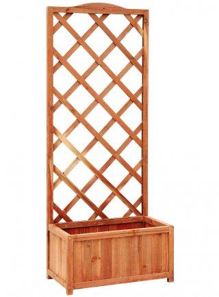 Fioriera in legno con traliccio Excelsior slim m 0,60x0,34xh1,50 ciliegio