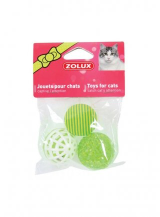 GIOCO per gatti Zolux 3 palline varie da 4 cm
