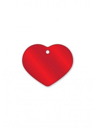 Medaglietta da incidere a forma di cuore rossa