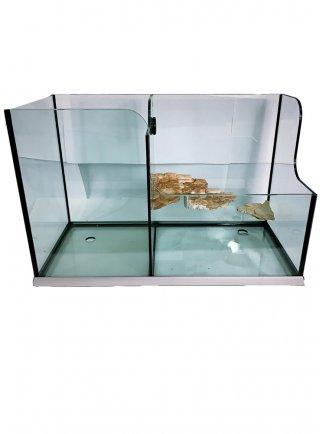 Tartarughiera doppia con vasca pesci  80*36*51h