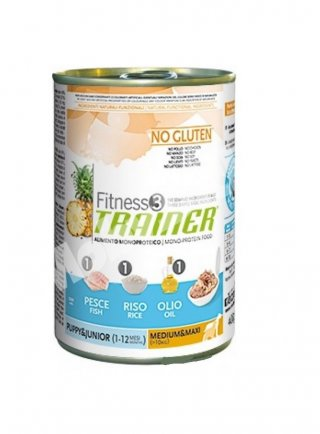 Trainer Fitness3 Dog Puppy & Junior Medium e Maxi pesce e riso Lattina  400 GR