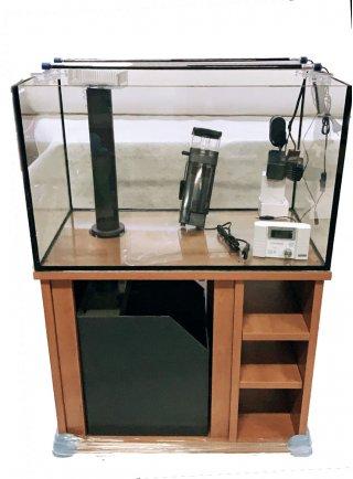 Vasca vitrea 84x50x51h acquario 200 litri extrachiaro + mobile cigliegio