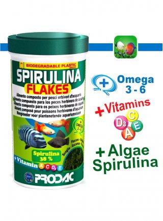 Prodac Spirulina Flakes Alimento per pesci d'acquario
