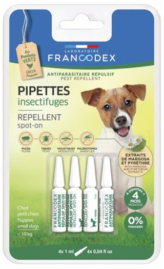Antiparassitario 4 fiale effetto repellente naturale Francodex per cani fino a 15kg